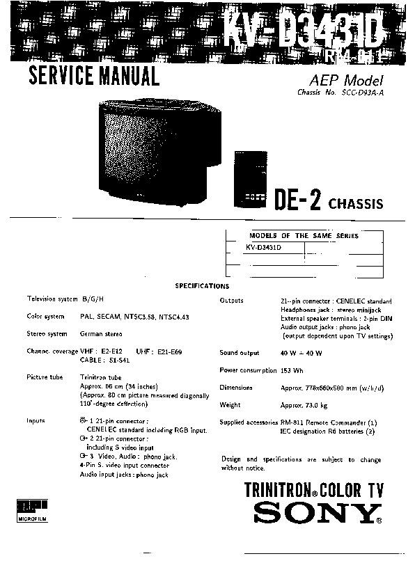 sony kv-d3431d service manual