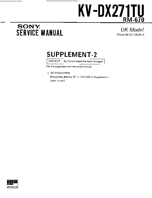 sony kv-dx271tu service manual