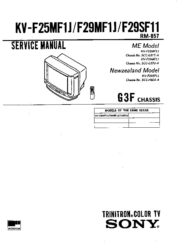 sony kv-f25mf1j service manual