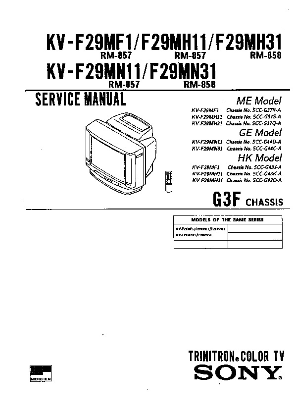 sony kv-f29mf1 service manual