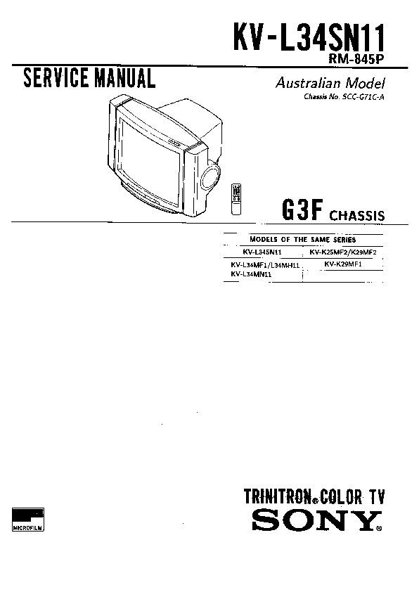 sony kv-l34sn11 service manual
