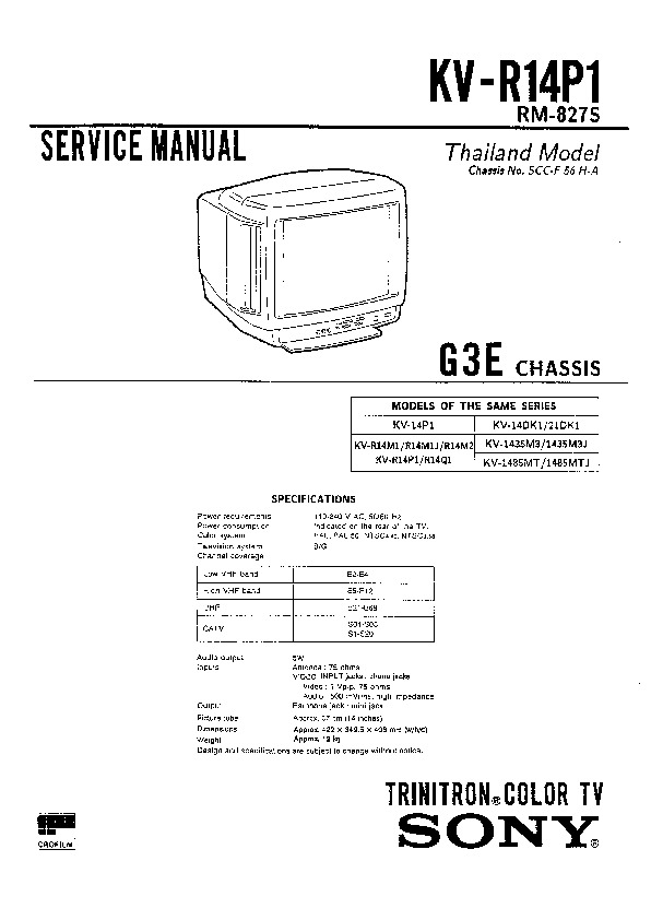 sony kv-r14p1 service manual