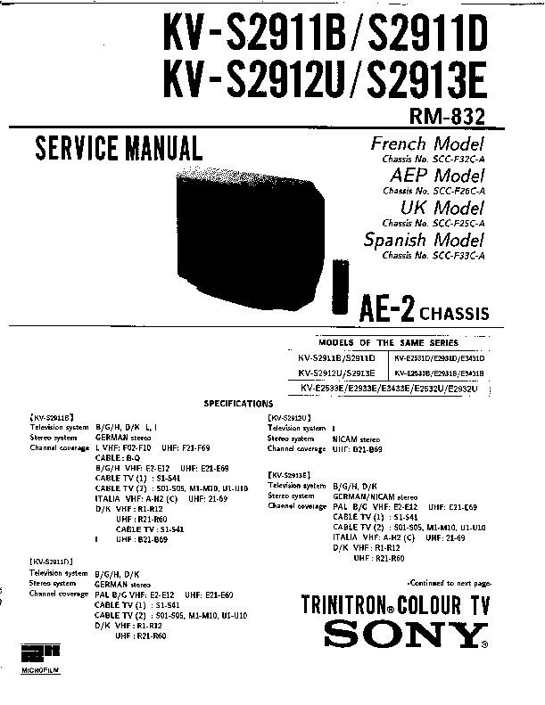 sony kv-s2911b service manual