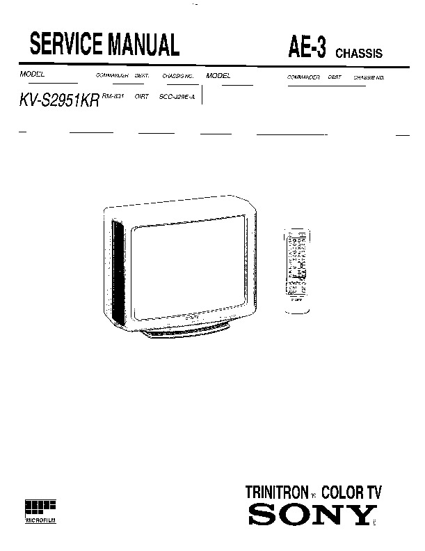 sony kv-s2951kr service manual