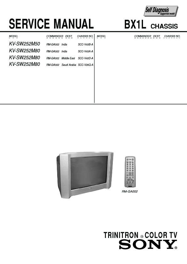 sony kv sw252m50 service manual free download rh servicemanuals us Sony Wega Trinitron 36 Manual Sony Trinitron Tube TV