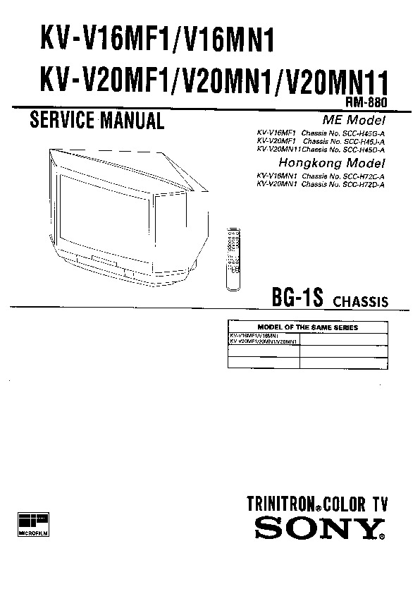 sony kv-v16mf1 service manual