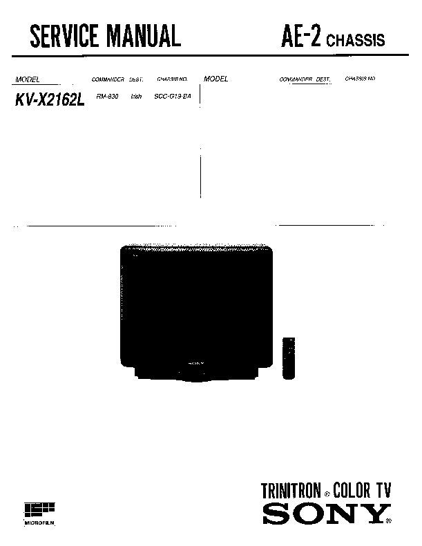 sony kv-x2162l service manual