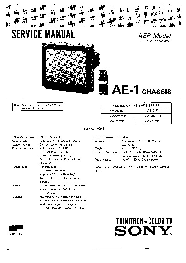 sony kv x2521d service manual free download rh servicemanuals us Canon A- 1 AE-1 Program Charger
