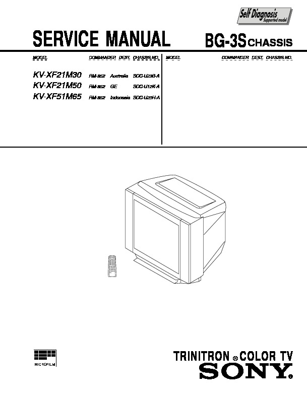 sony kv-xf21m30 service manual