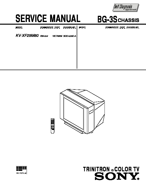 sony kv-xf29m80 service manual