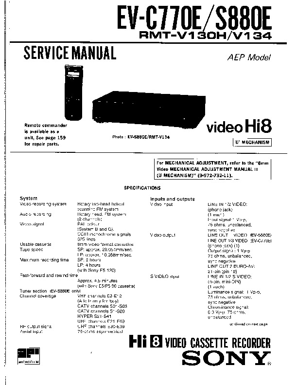 Sony Vcr Service Manuals Free Download