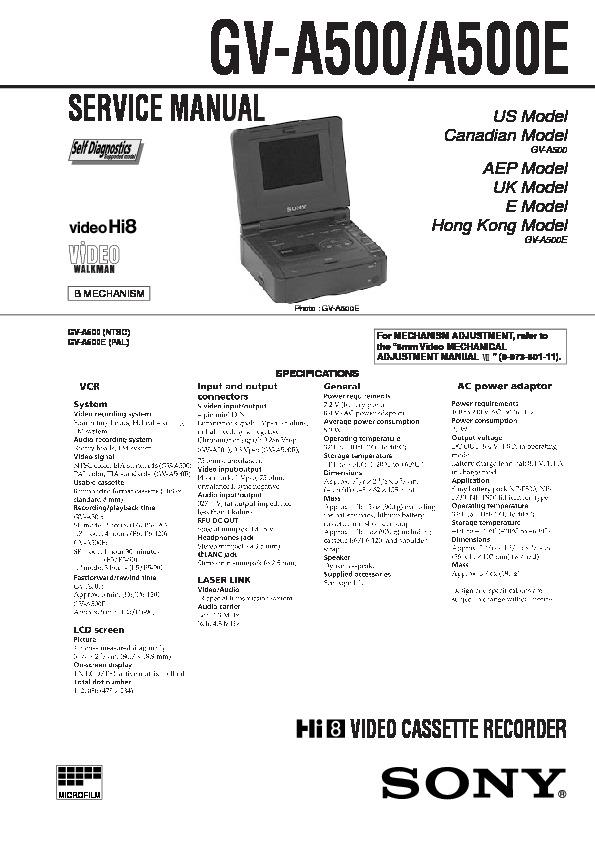Sony Gv-a500 Service Manual
