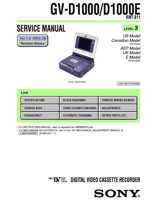 Sony Gv-d1000 Service Manual