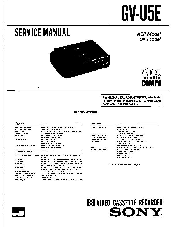 Sony Gv-u5e Service Manual