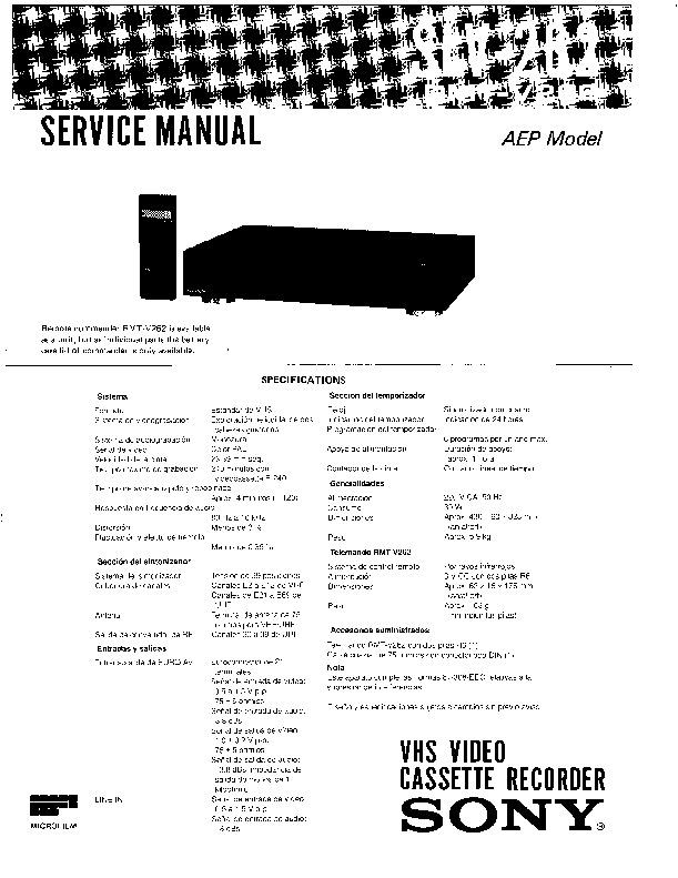 sony slv-262 service manual