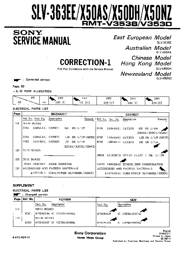 Sony Vcr Service Manuals Page 6