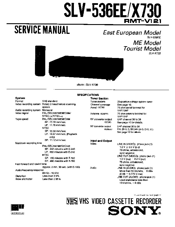 Sony Vcr Service Manuals Page 3
