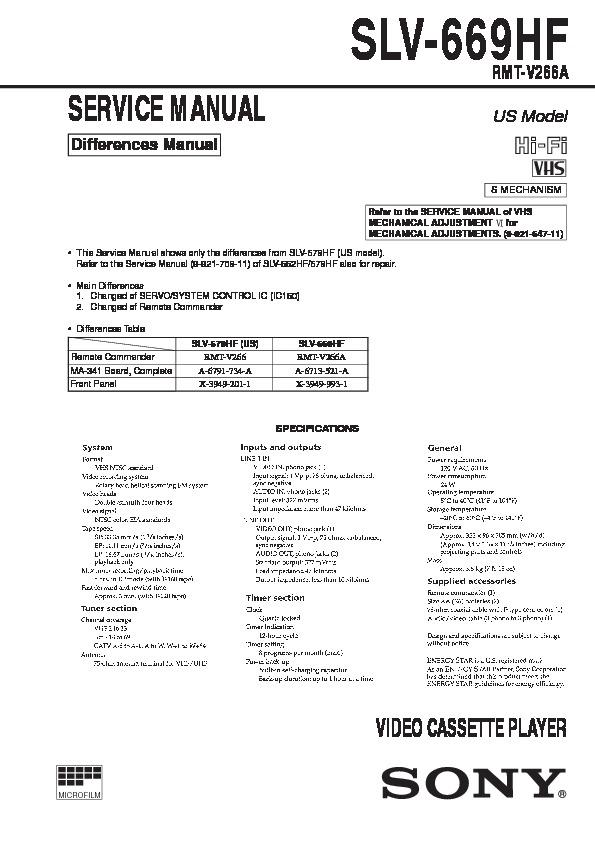 sony slv 669hf service manual free download