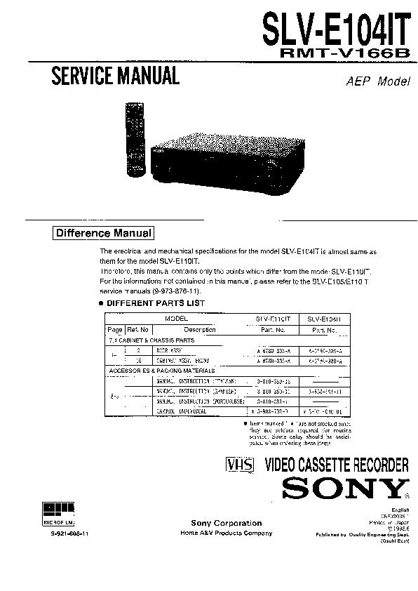 Sony Vcr Service Manuals Page 12