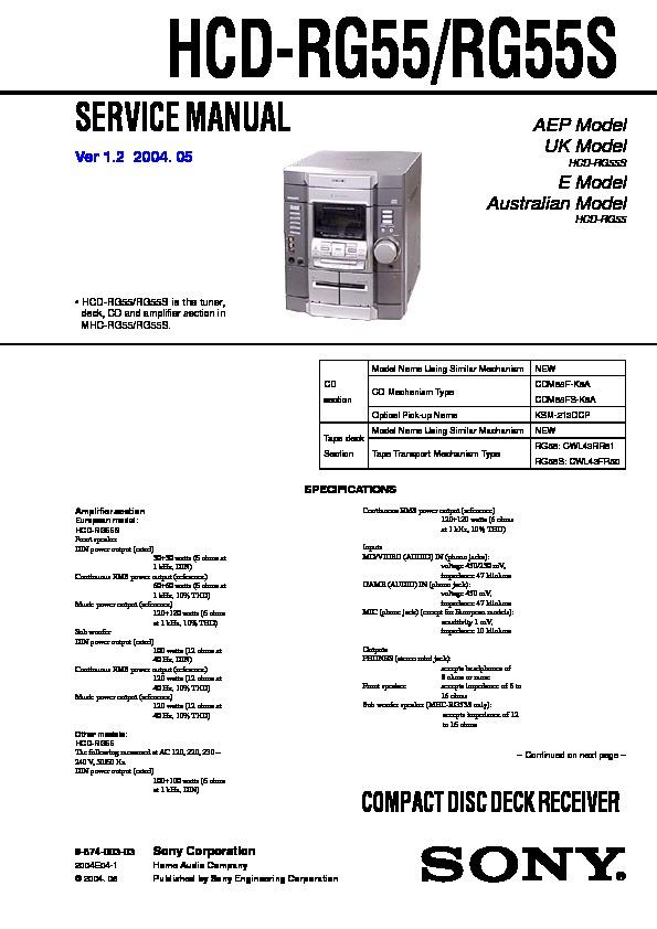 Sony mhc rg55 схема