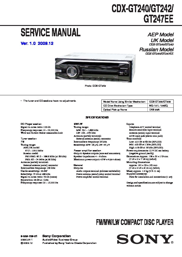 Sony Cdx-gt24  Cdx-gt28 Service Manual