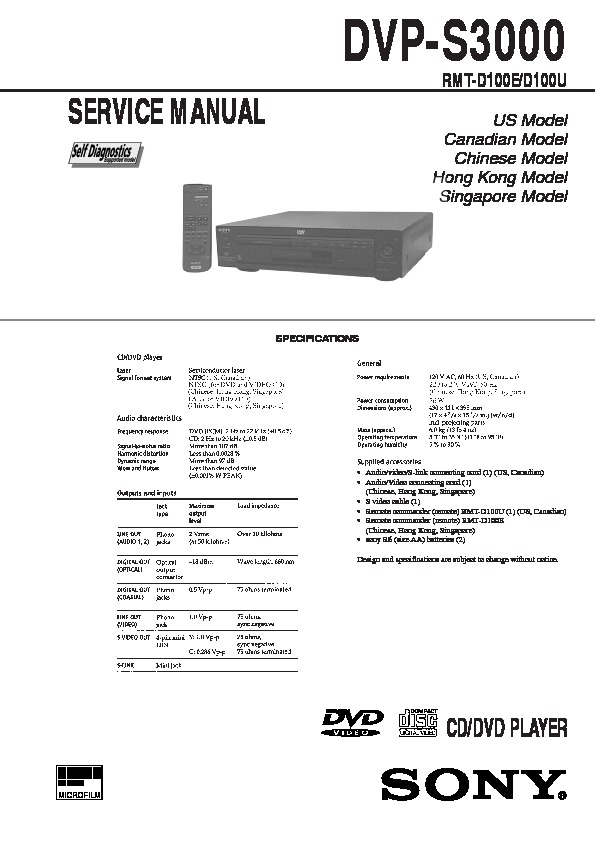 sony dvp-s3000 service manual - free download  service manual